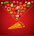 blank slice of pizza and ingredients on red vector image vector image