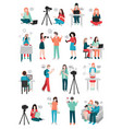 blogger human characters collection vector image