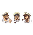 boatswain with pipe portrait a sea captain vector image vector image