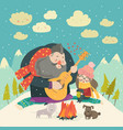 boy plays guitar for a girl in the winter forest vector image