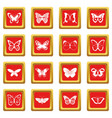 butterfly icons set red vector image