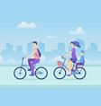 cartoon active lifestyle family concept on a city vector image