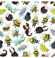 Cartoon cute bugs and insects seamless wallpaper vector image vector image