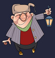 cartoon man in a fur hat with a lantern in hand vector image vector image
