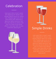 celebration simple drink poster rd and white wine vector image vector image