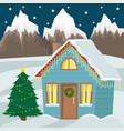 country cottage decorated with christmas garland vector image