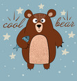 cute bear with fish vector image vector image