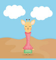 cute giraffe with clothes character vector image