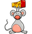 cute mouse with cheese cartoon vector image