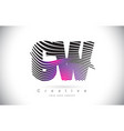 cw c w zebra texture letter logo design with vector image vector image