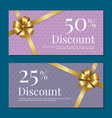 discount on 50 25 percent set posters with gold vector image