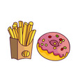 donut with glaze icing potato fry vector image vector image