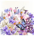 floral background with flowers in watercolor style vector image vector image