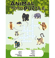 Game design for animal word puzzle vector image vector image