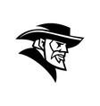 general robert lee head mascot black and white vector image vector image