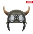 German Army helmet with horns and protective vector image vector image