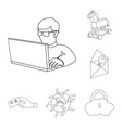 hacker and hacking outline icons in set collection vector image vector image