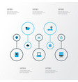 hardware icons colored set with shield computer vector image vector image