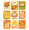 hello autumn and fall sale retro poster set vector image vector image