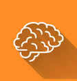 Human brain simple white icon with long shadow on vector image