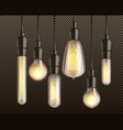 incandescent light bulbs realistic set vector image vector image