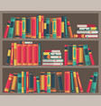 library room book stacks in bookcase various vector image vector image