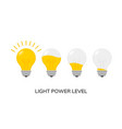 light bulb power level icon isolated light vector image vector image
