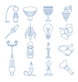 Lighting elements icon set Thin line design vector image