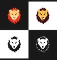 lion head logo set vector image vector image