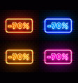 neon 70 off text banner color set night sign vector image