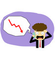 panic businessman with smartphone in stock market vector image vector image