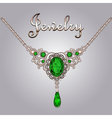 Pendant necklace with precious stones vector image