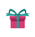 pink gift box wrapped green ribbon bow present vector image vector image