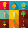 plant product icons set flat style vector image
