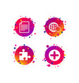 plus circle and puzzle signs file globe vector image