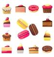 set fifteen delicious desserts for a menu vector image