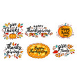 set of hand drawn happy thanksgiving vector image vector image