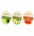 set of labels with ecological tomato and pickles vector image vector image