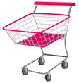 Single shopping cart with wheels vector image vector image