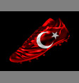 soccer football boot with the flag of turkey vector image vector image