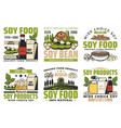 soy beans food milk meat sauce icons vector image