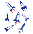 Space rockets and military missiles set vector | Price: 1 Credit (USD $1)
