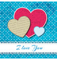 three isolated hearts composition vector image vector image