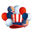 tophat and balloons helium with usa flag vector image vector image
