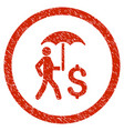 walking banker under umbrella rounded grainy icon vector image vector image
