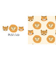 wild cats t-shirt design and seamless pattern vector image vector image