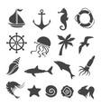 nautical sea related design elements set vector image