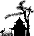 Asian house under a pine tree silhouette vector image