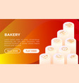 bakery concept with thin line isometric icons vector image vector image