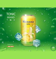 can with banana juice package design advertising vector image vector image